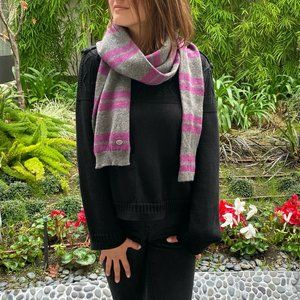 Stripe Cashmere Tube Knit Scarf Stole